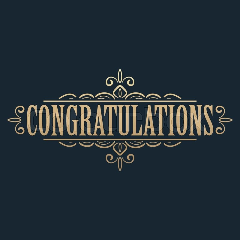Calligraphic design element. Golden congratulations card design