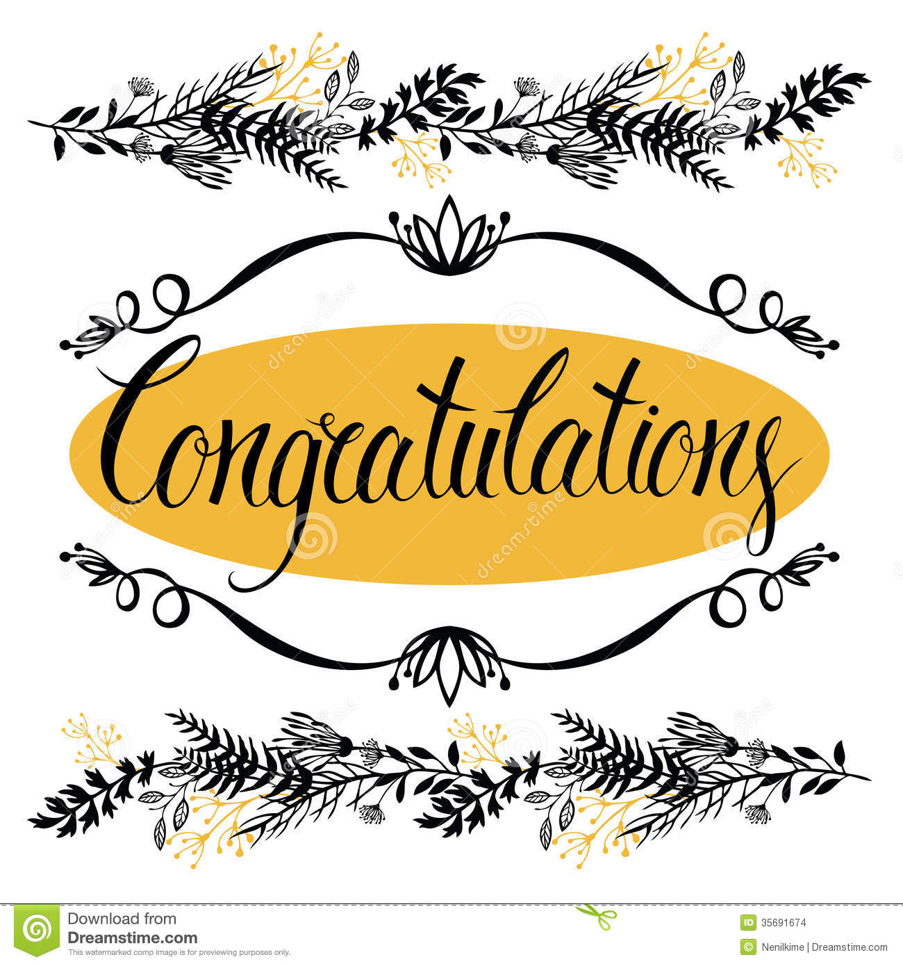 Congratulations Card With Forest Herbs And Calligr Stock Vector