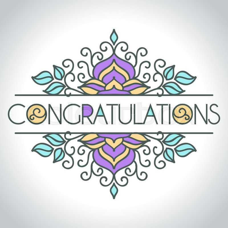 Vector card with floral ornament design. Congratulations card