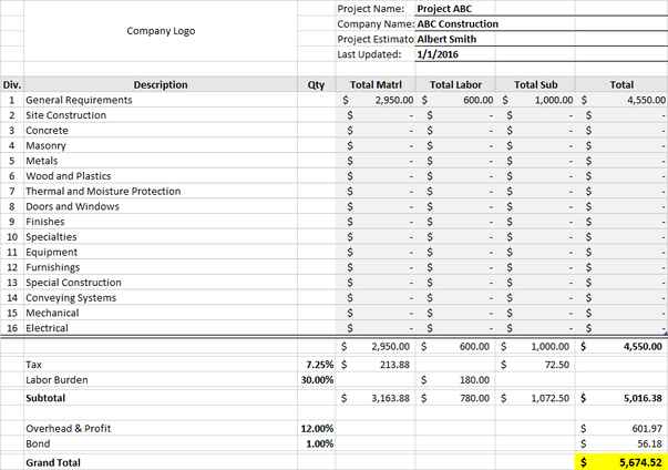 Construction Bid Template   Excel Download