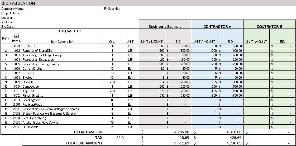 construction bid template excel   Manqal.hellenes.co