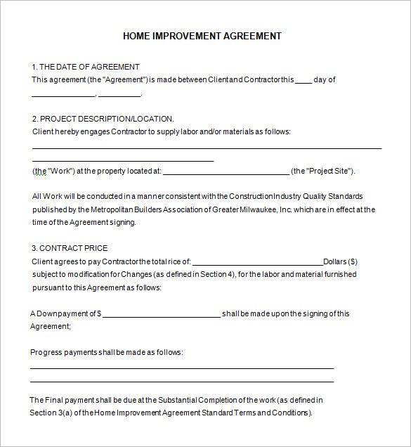 Home Remodeling Contract Template  7+ Free Word, PDF Documents