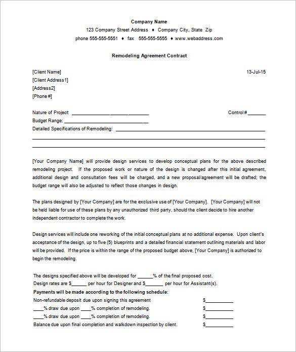9+ Remodeling Contract Templates   Free Word, PDF Format Download
