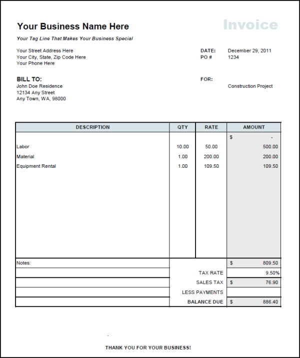 Contractor Invoice Format Independent Contractor Invoice Template