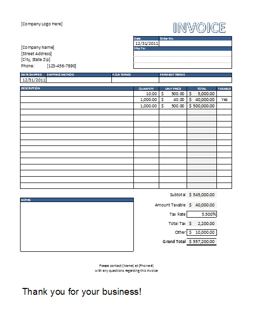 Contractor Invoice Template Excel   free printable invoice