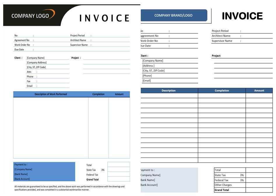 free contractor invoice template on excel   Physic.minimalistics.co
