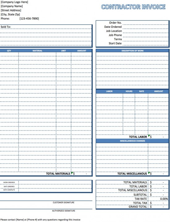 invoice contract template free contractor invoice template excel