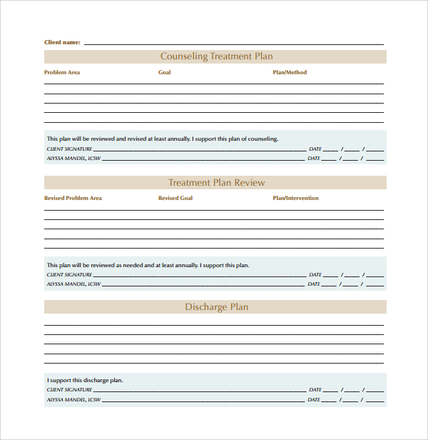 8+ Treatment Plan Templates | Sample Templates