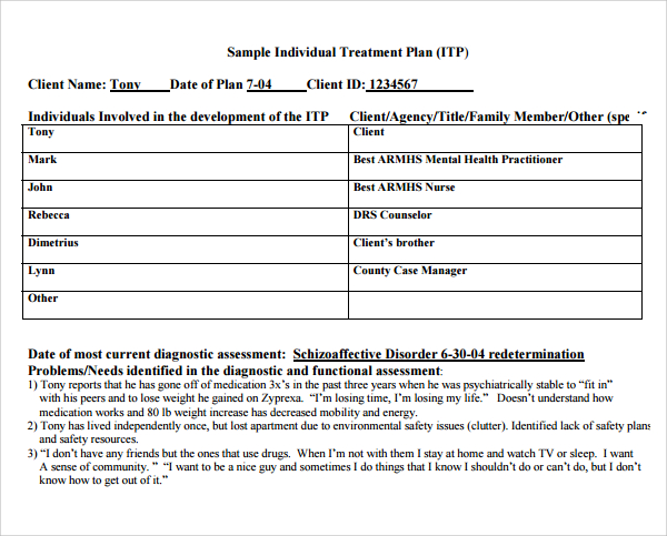 Counseling Treatment Plan Template Pdf | beneficialholdings.info
