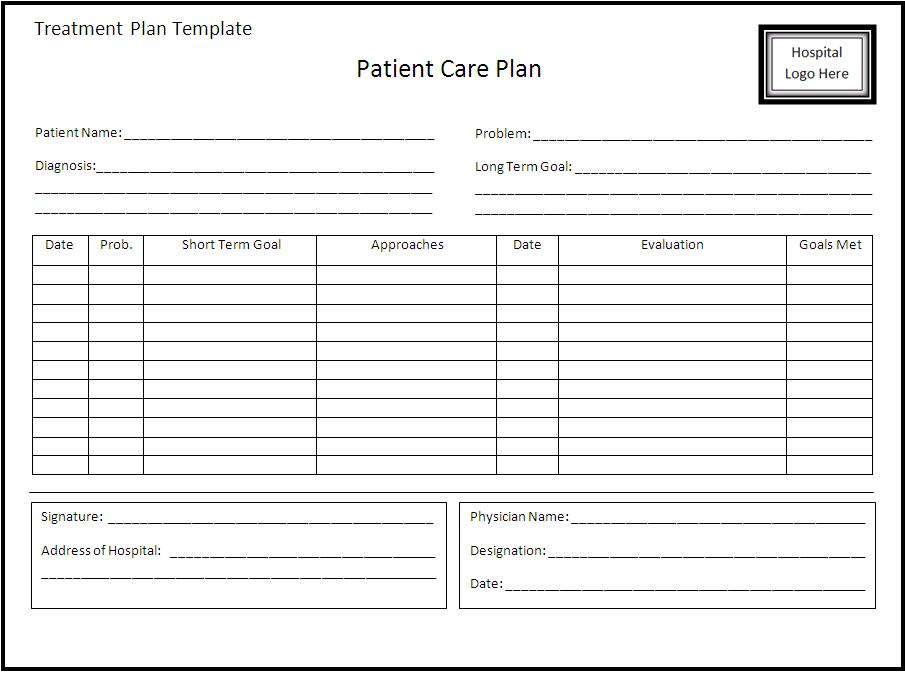 Treatment Plan Form Templates   Fillable & Printable Samples for