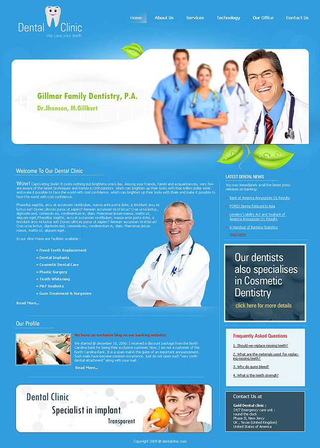 Inexpensive dental website templates