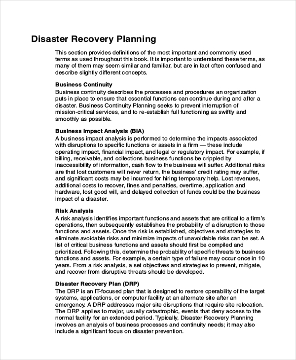 Disaster Recovery Plan Template | e commercewordpress