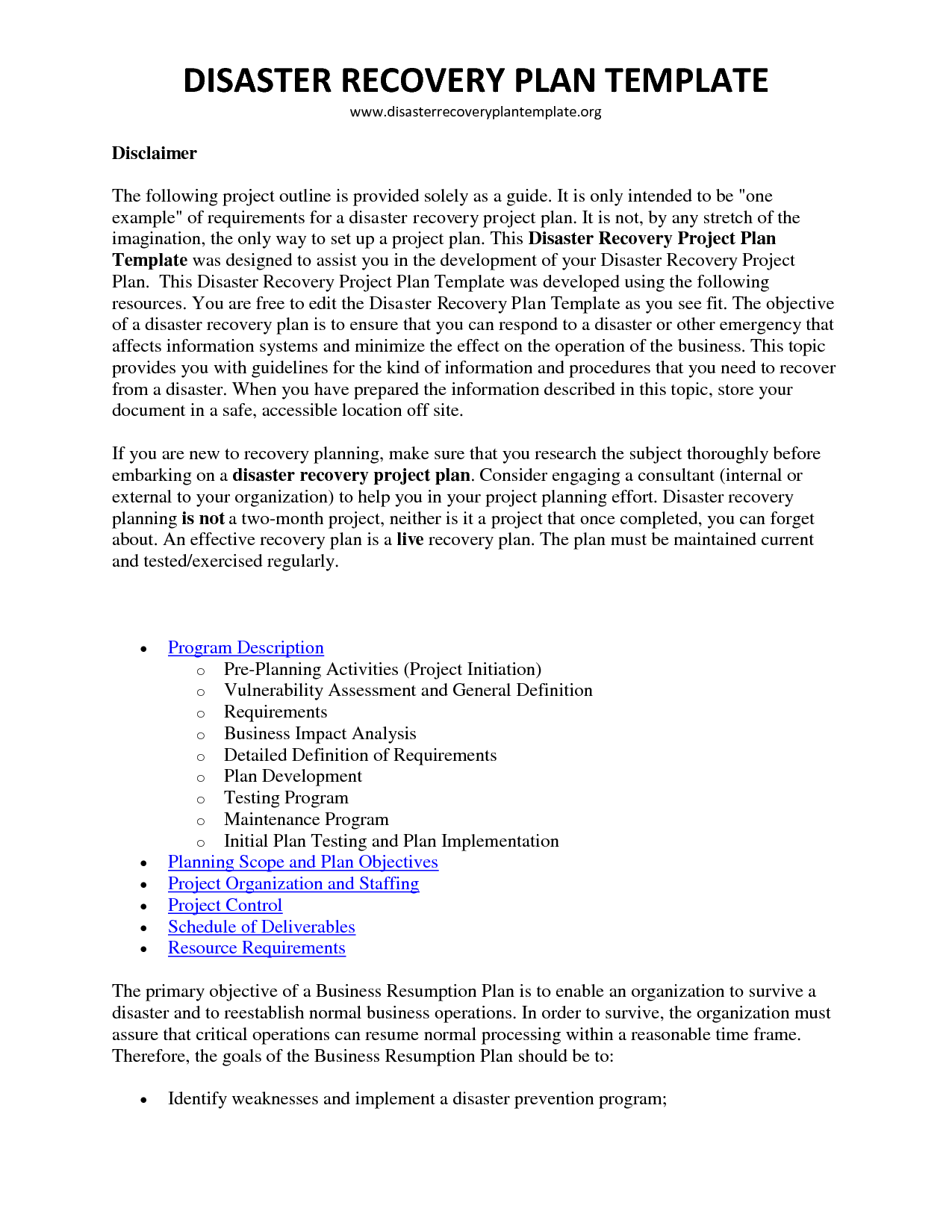 disaster recovery plan template cyberuse business continuity word