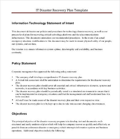 IT Disaster Recovery Plan Template   9+ Free Word, PDF Documents