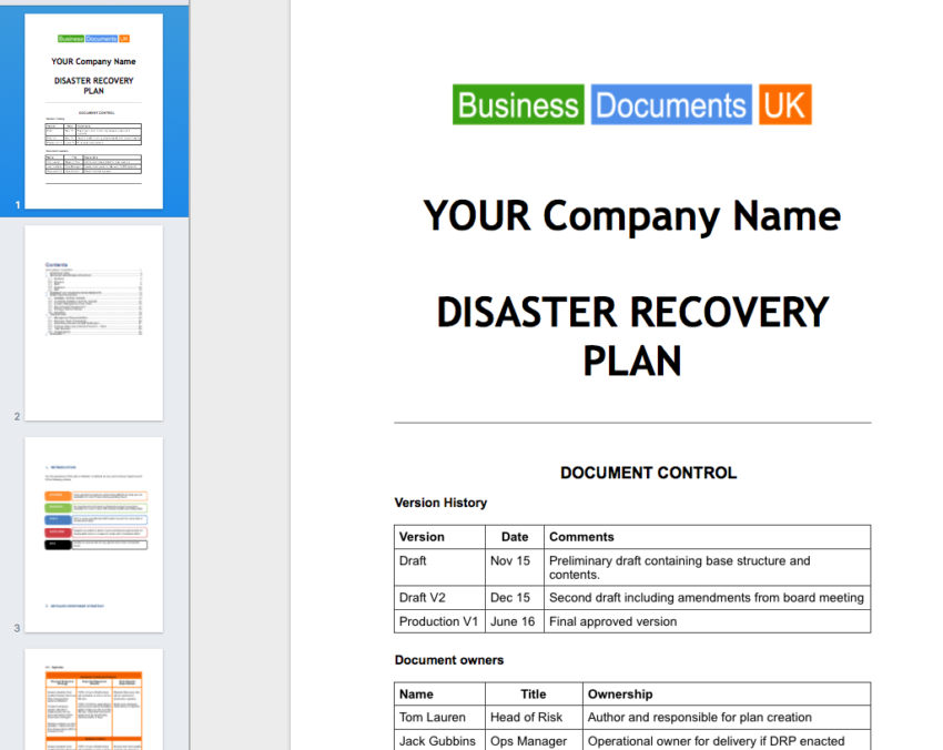 Disaster Recovery Plan Template Toolkit Bundle