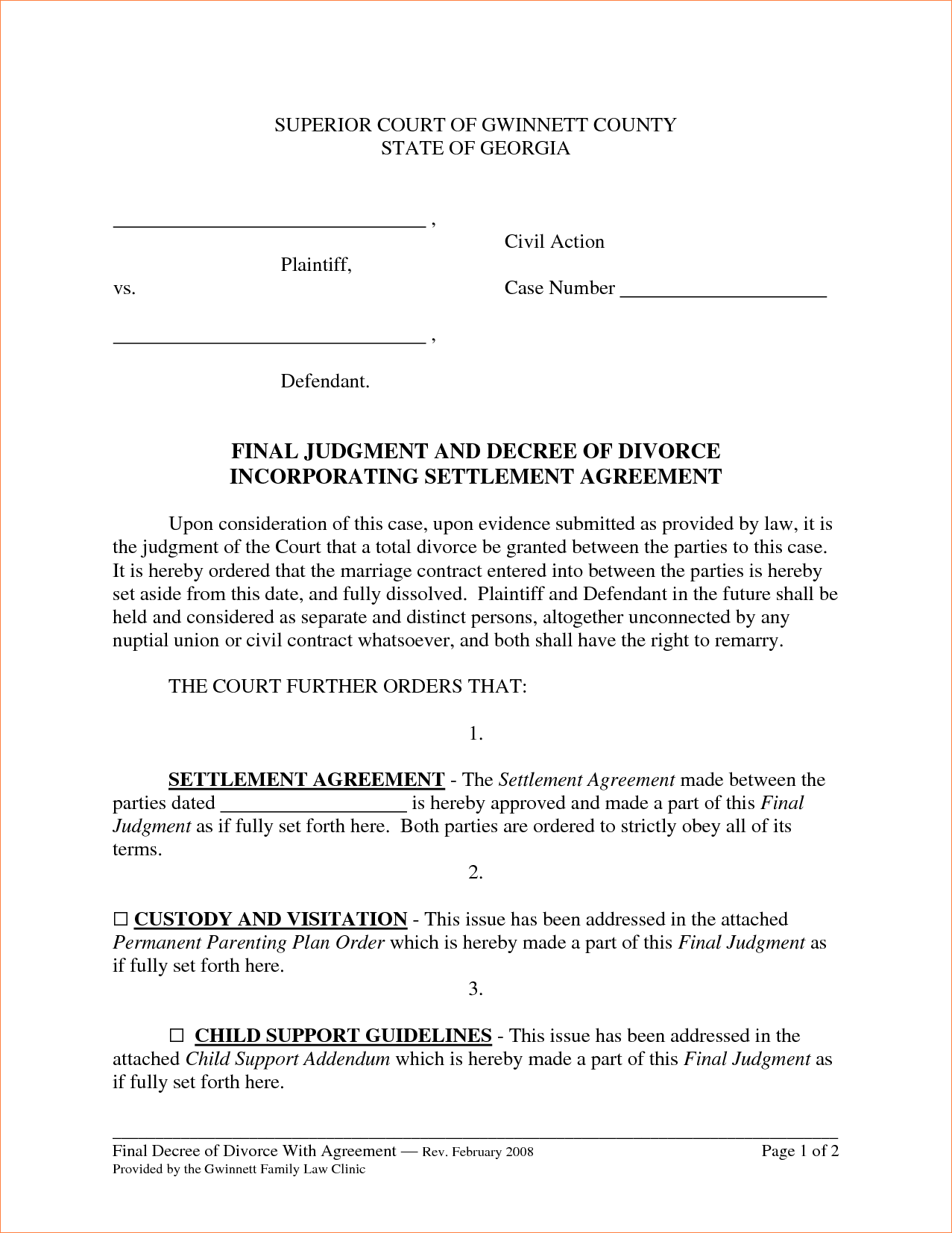 divorce settlement agreement template ms word divorce settlement