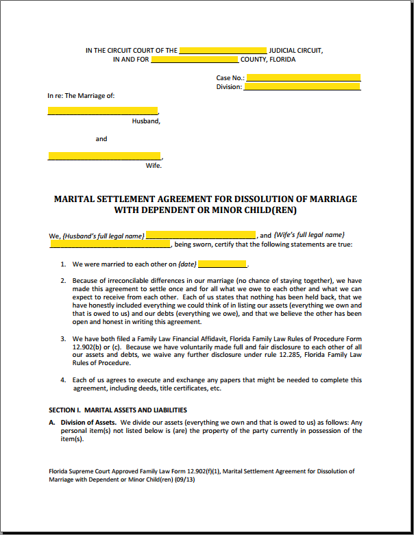 Divorce Settlement Agreement Template (with Sample)