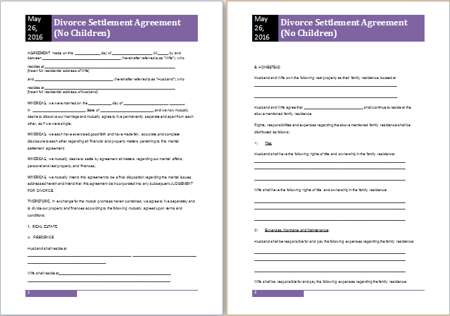 Divorce Settlement Agreement Template (with Sample) | diy