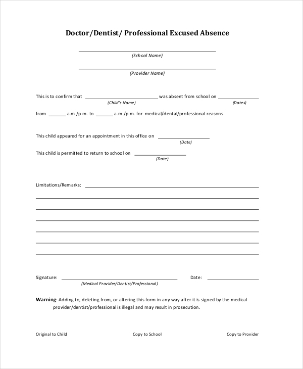 Doctors Note Template For School   6+ Free Word, PDF Documents