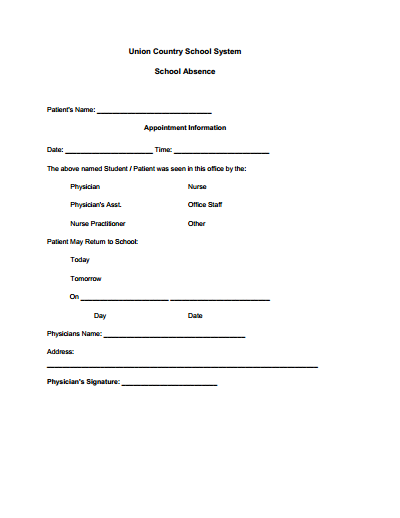 Best Photos of Doctors Note Template For Work Absence   Work