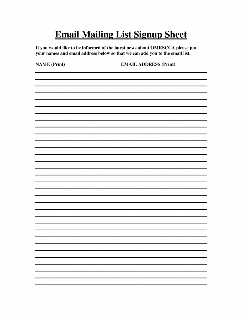 Email sign up sheet template printable p and l statement helpful