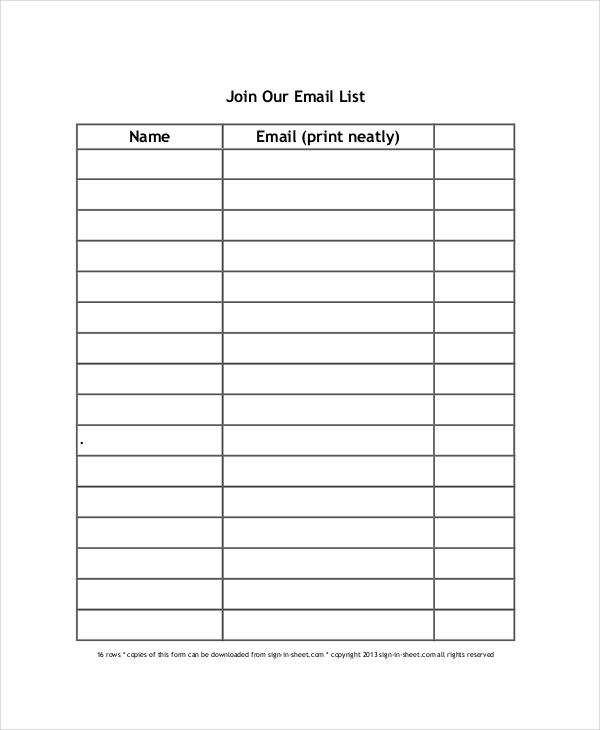 Sign Up Sheet   16+ Free PDF, Word Documents Download | Free