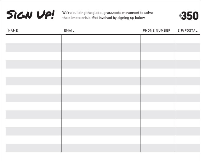 Mailing List Sign Up Sheet Template