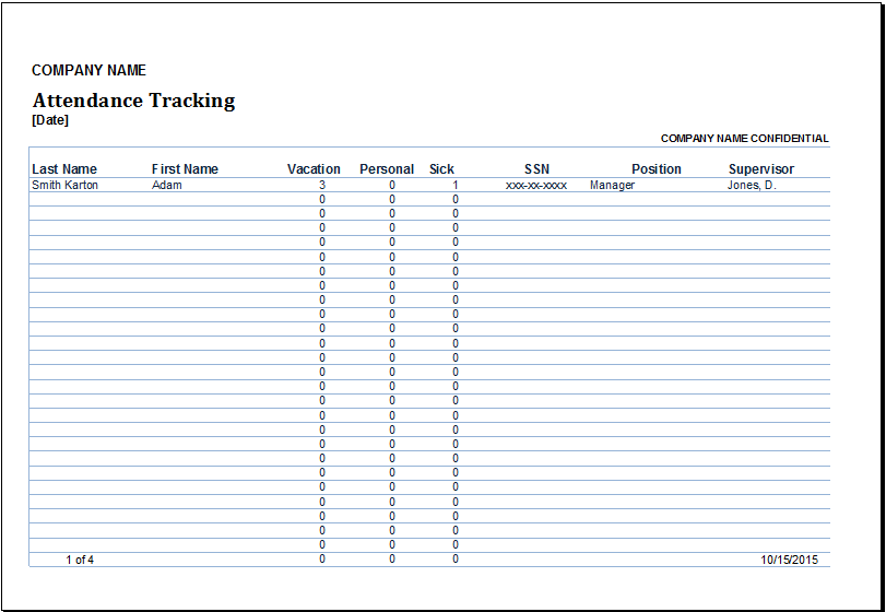 employee attendance tracking template   Physic.minimalistics.co
