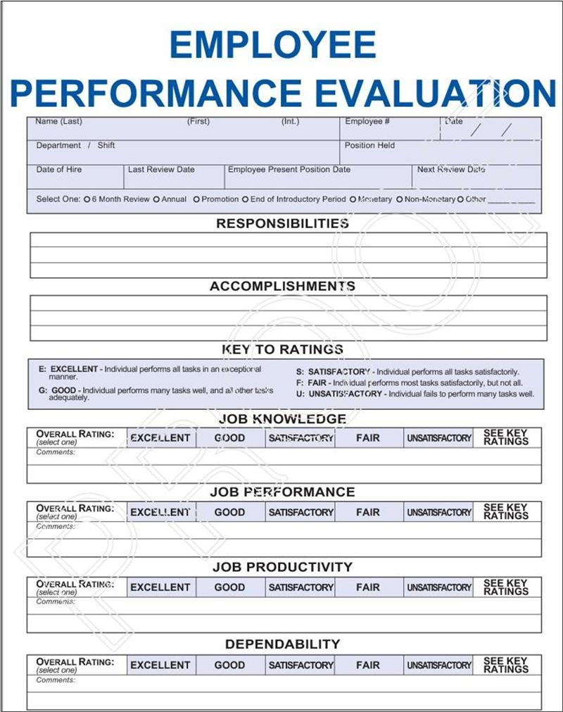 Employee Performance Evaluation Form Pdf Emmamcintyrephotography