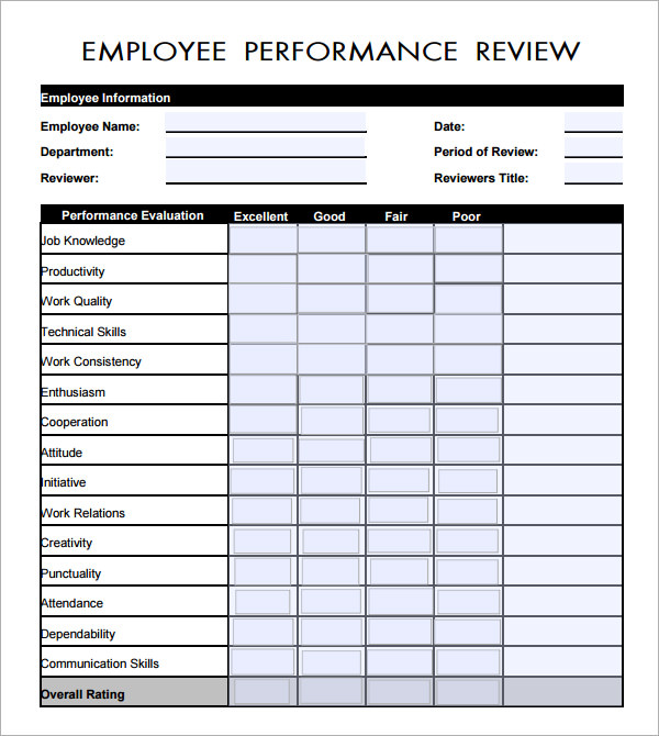 Employees Evaluation Forms Zoroblaszczakco Evaluation Template For