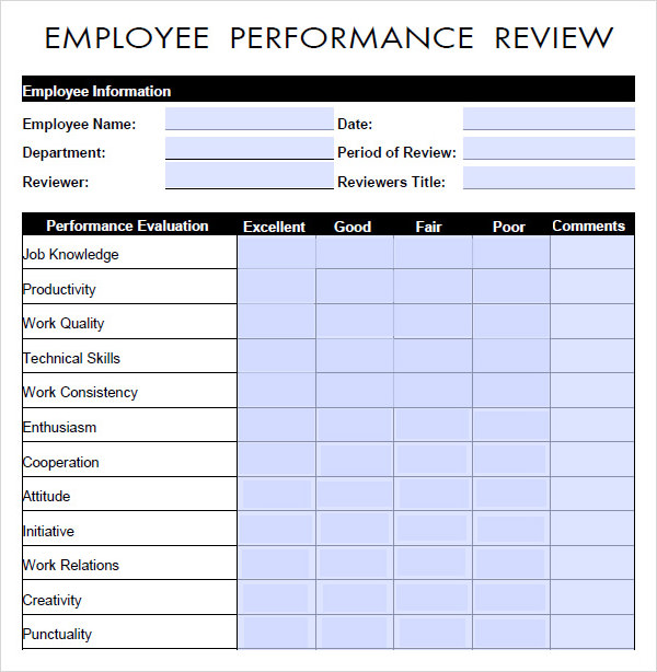 employee performance evaluation form   Manqal.hellenes.co