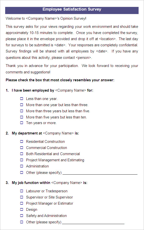 Employee Survey Samples | radiogomezone.tk