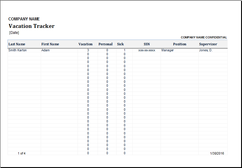 Vacation tracker excel employee fresh with – dacost.info
