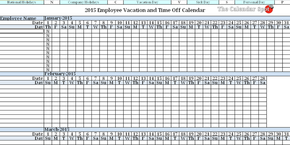 2015 Employee Vacation Absence Tracking Calendar