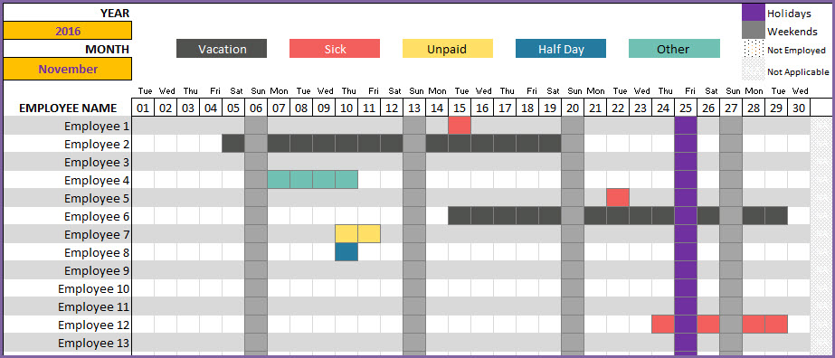 Employee Vacation Tracker to track leave & attendance   Excel Template