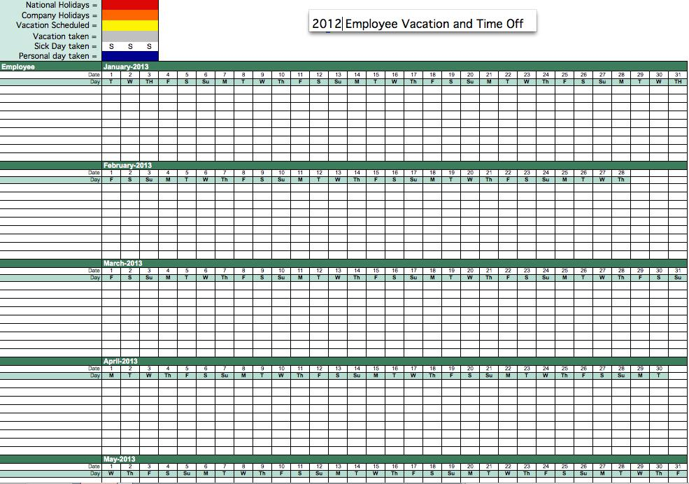 Vacation tracker excel employee time tracking efficient and