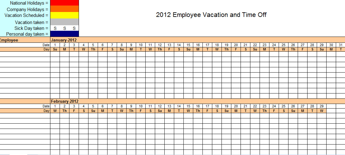 Vacation tracking spreadsheet efficient imagine employee time off