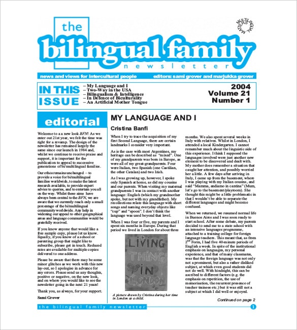 Newsletter examples bilingual family example famous illustration