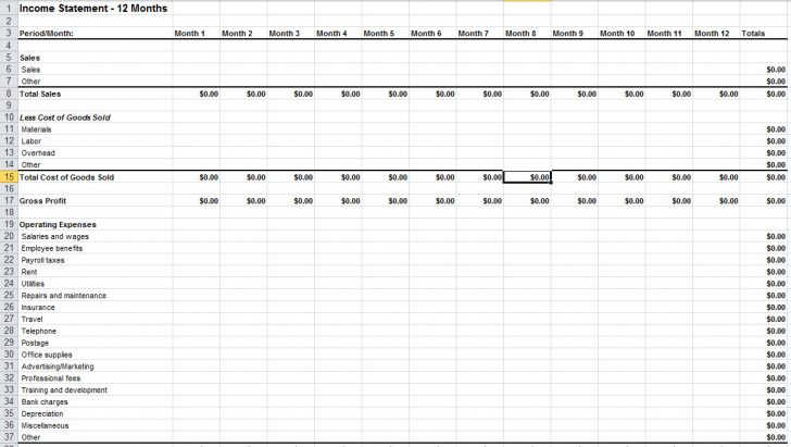 Financial Statements Excel Templates   Template RQ
