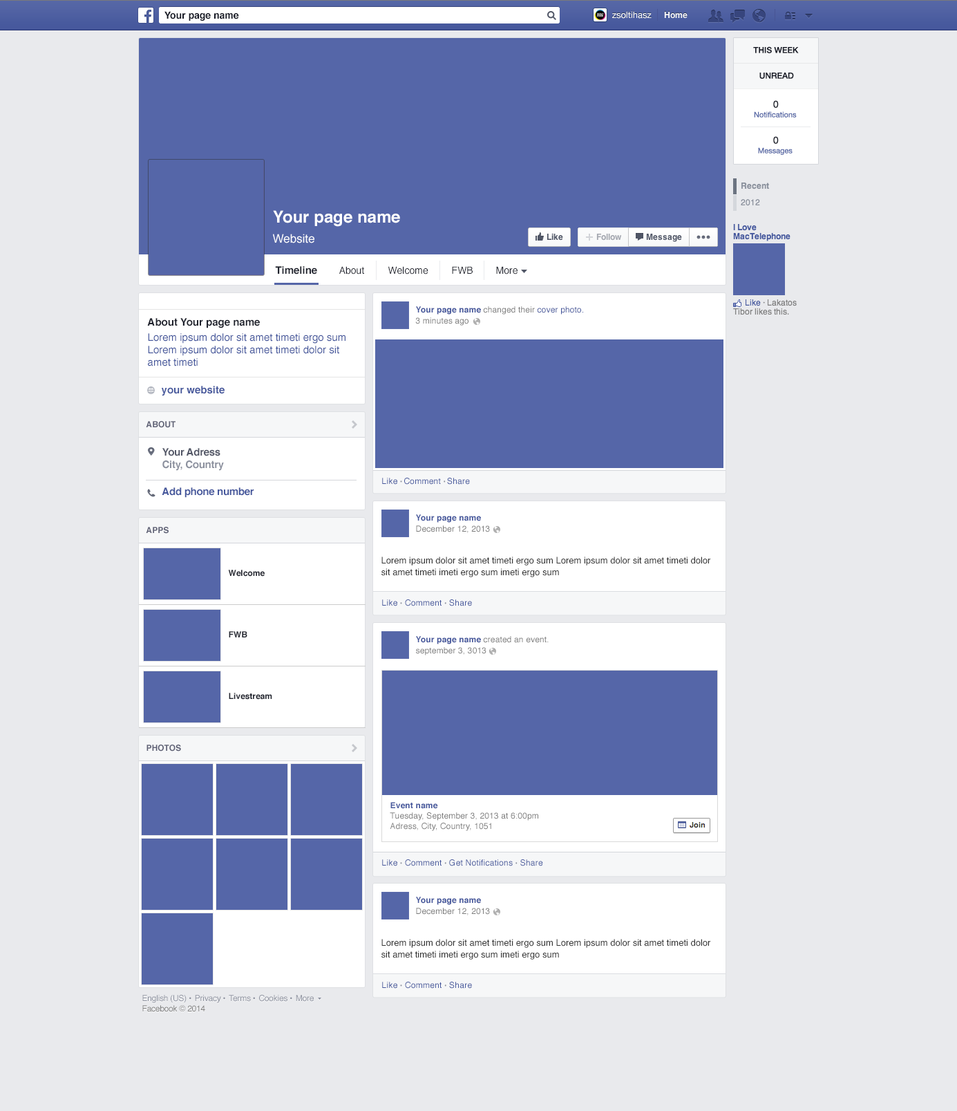 facebook page design template   Physic.minimalistics.co