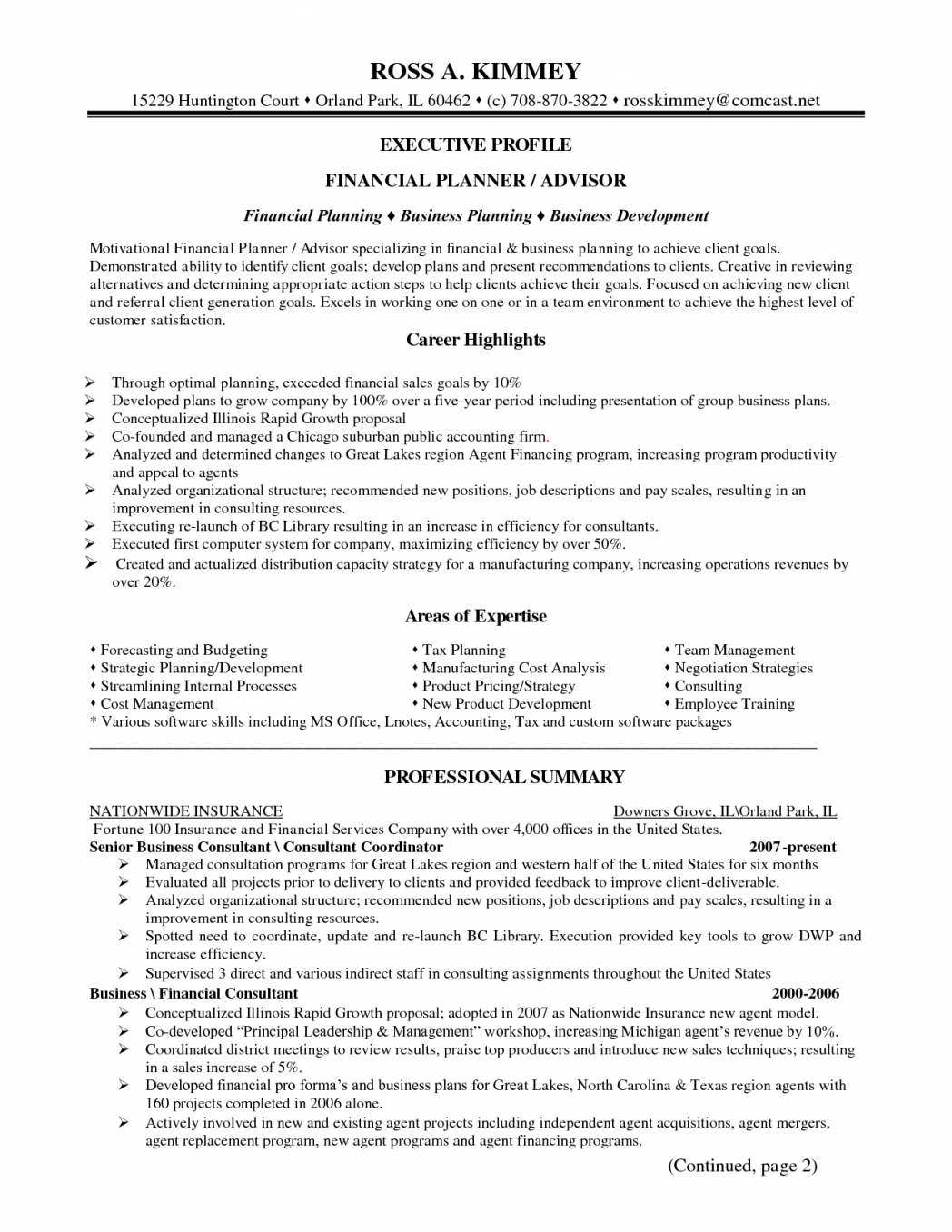 financial planning for business plan template