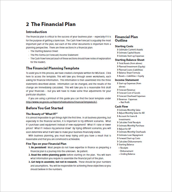 Business Plan Template Financial Advisor Financial Business Plan