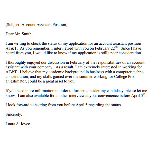 Example follow up email after interview how write letter sample