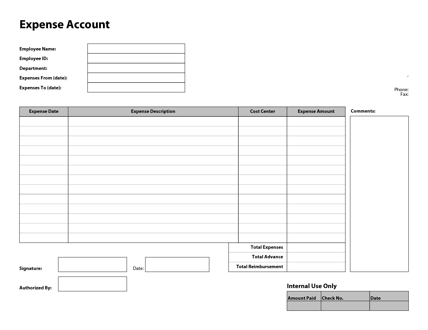 Employee Expense Report Template Free Excel Features Pdf Documents