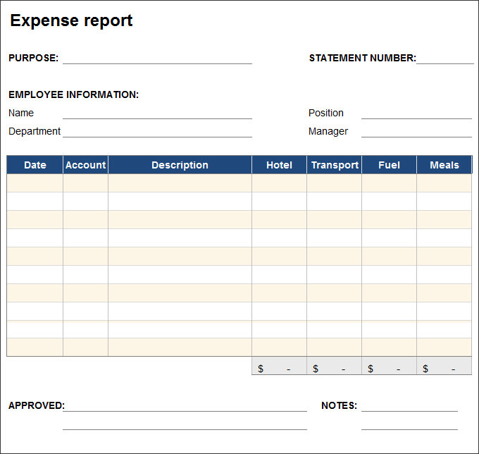 free expense report template 27 expense report template free word