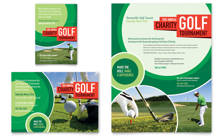 free golf brochure templates background golf tournament flyer ad