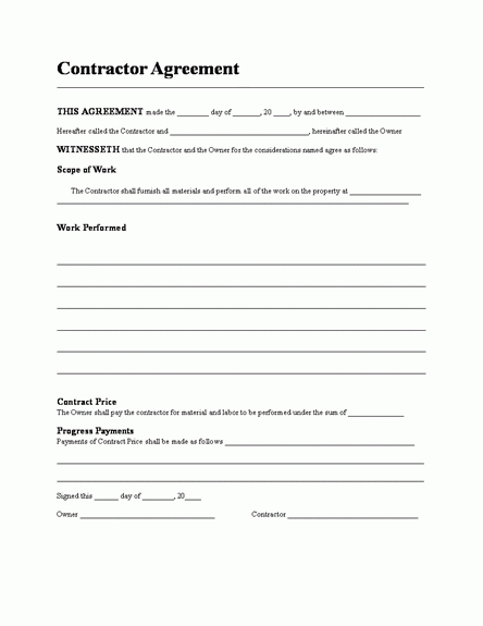 free contractor agreement template contractors agreement template