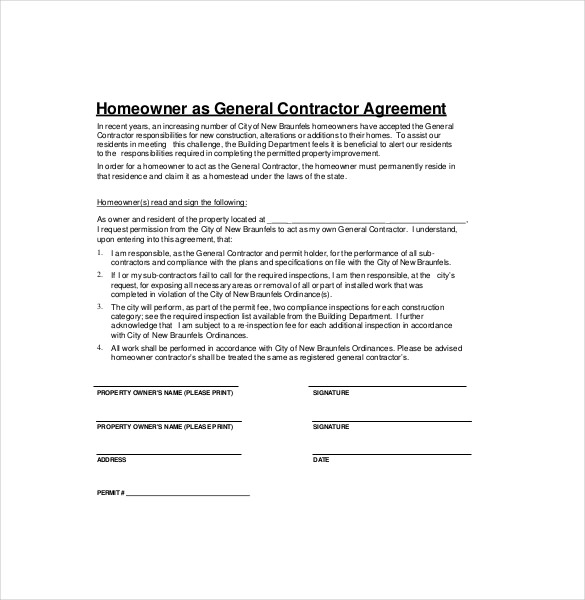 general contractor agreement template general agreement template