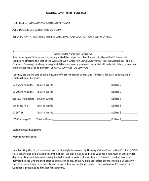 General Contractor Contract Template Form Charming – runnerswebsite