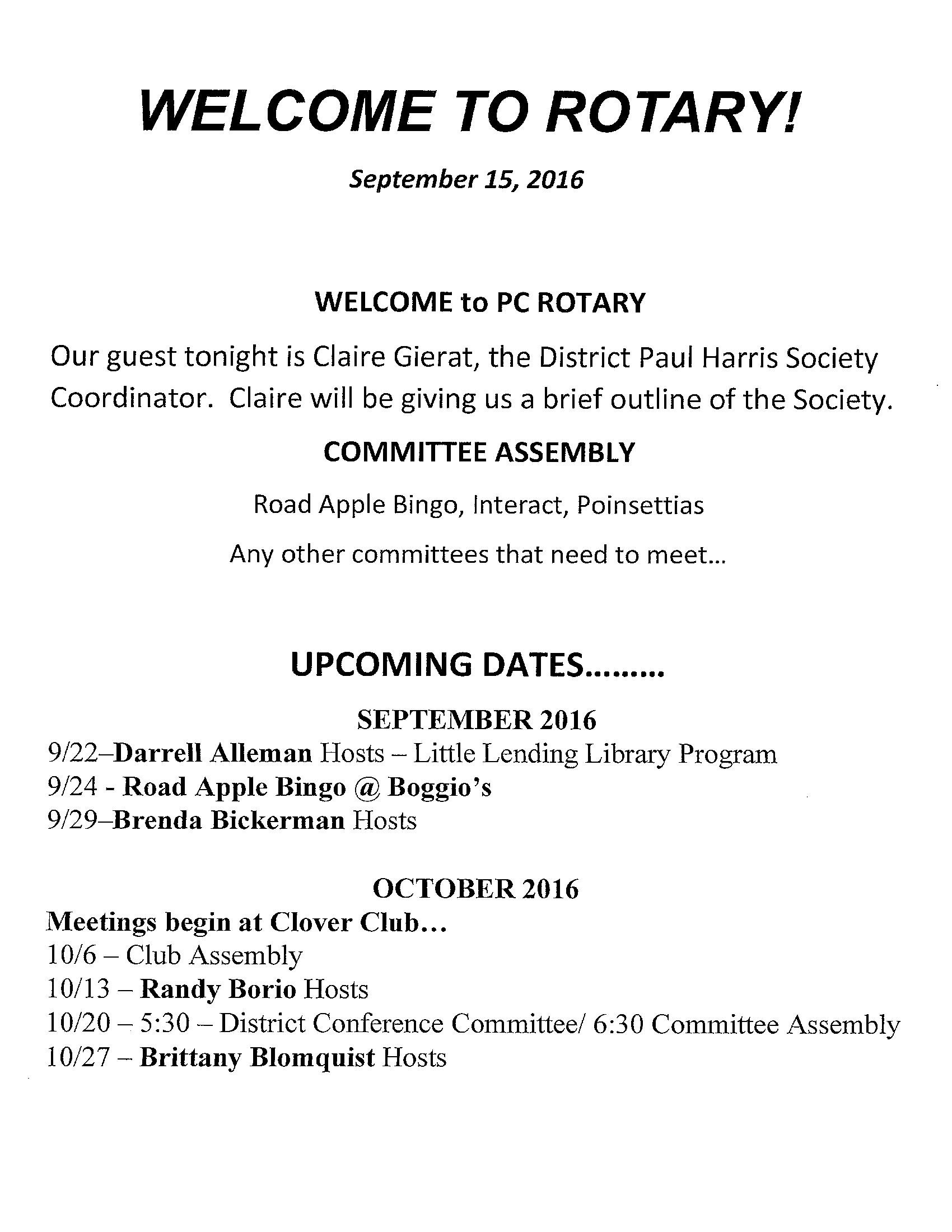 Club's Current Bulletins   Putnam County Rotary Club